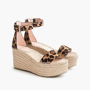 JCREW platform espadrilles leopard calf hair NWOT